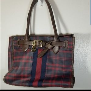 Tommy Hilfiger red and blue Plaid Tote